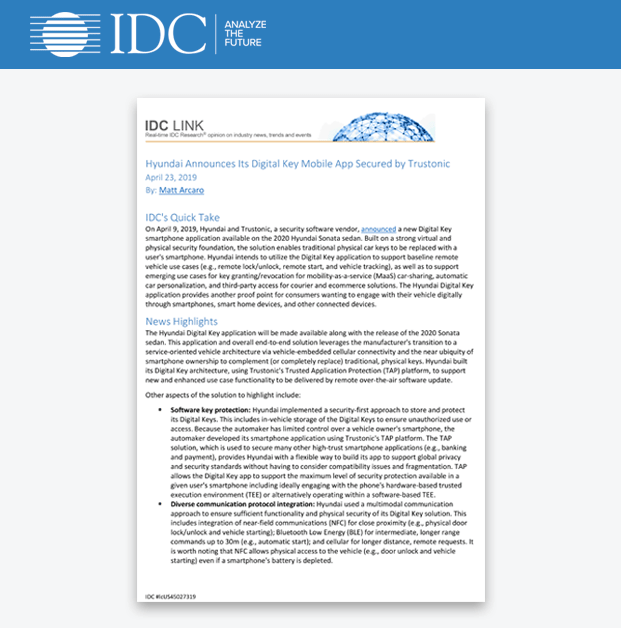 IDC Industry Research Report - Hyundai Announces Its Digital Key Mobile App Secured by Trustonic