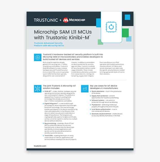 Microchip SAM L11 MCUs with Trustonic Kinibi-M™